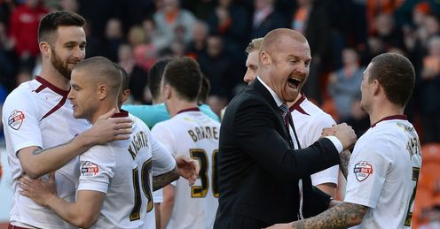 Sean Dyche: Burnley manager celebrates with Kieran Trippier
