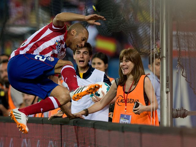 Joao Miranda celebrates scoring for Atletico Madrid