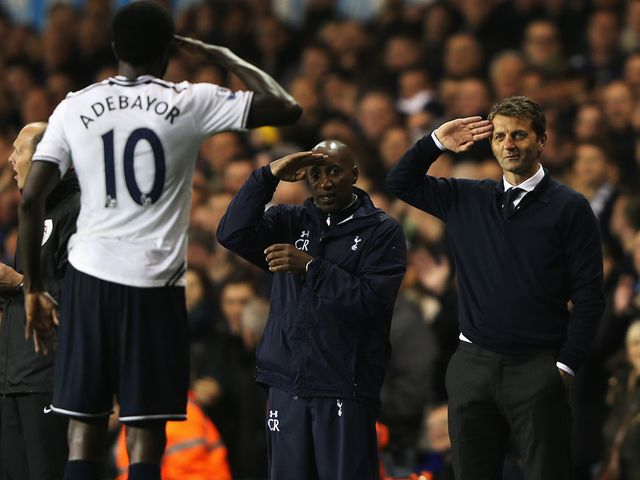 Adebayor salutes his boss after scoring Spurs' fourth