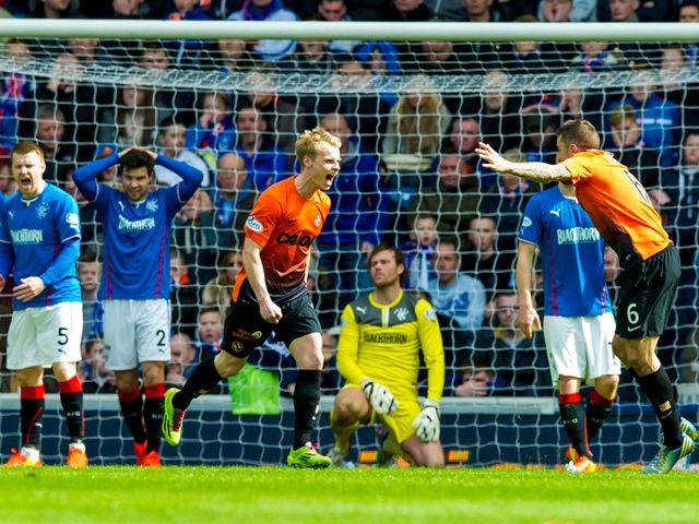 Gary Mackay-Steven celebrates for Dundee United