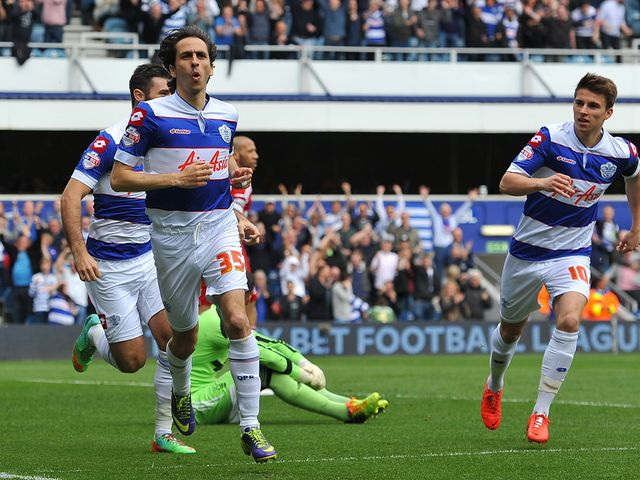 Yossi Benayoun celebrates scoring for QPR