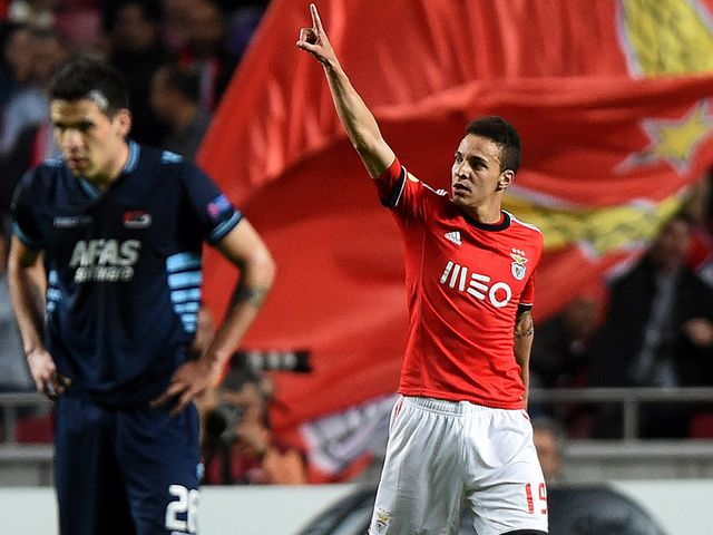 Rodrigo celebrates scoring for Benfica