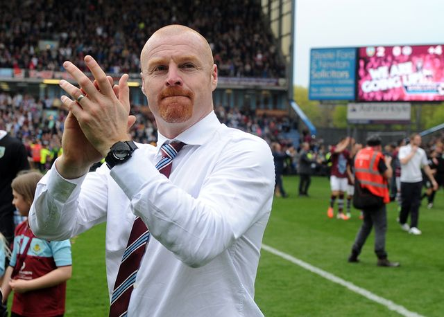 Sean Dyche enjoys the celebrations at Turf Moor