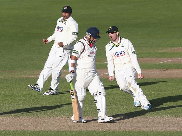 Nottinghamshire celebrate after winning the match