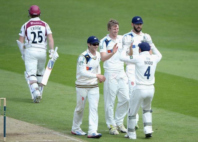 Yorkshire celebrate as Steven Crook is dismissed for just five runs