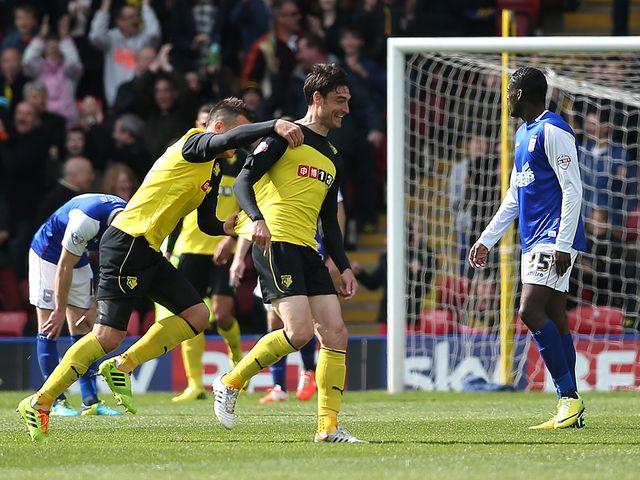 Albert Riera of Watford celebrates with Daniel Tozser