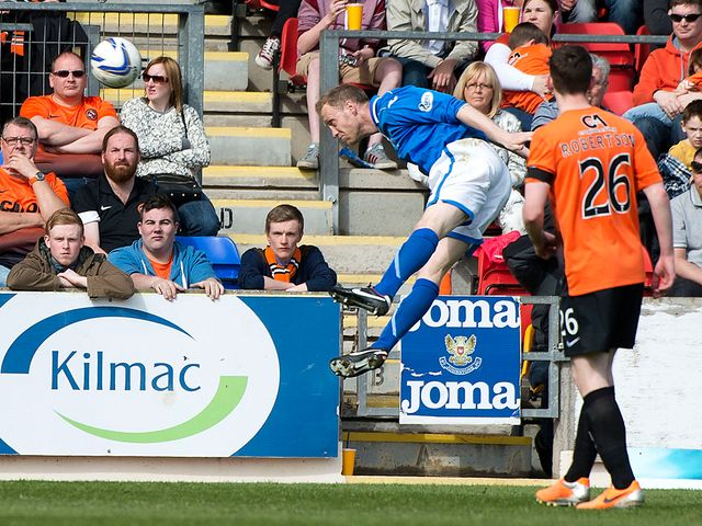 St Johnstone defender Steven Anderson opens the scoring with a header