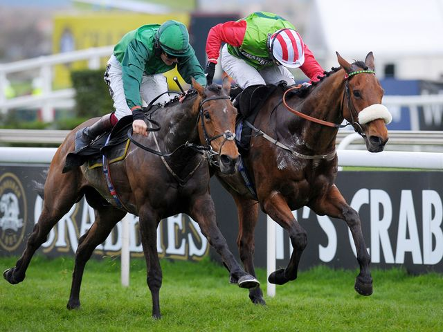 Ballybolley, ridden by Sam Twiston-Davies (left), claims bumper success at Aintree