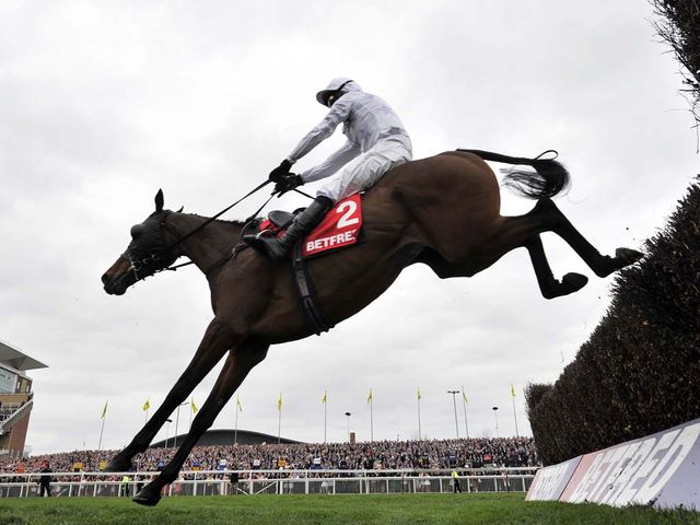 Holywell and Tony McCoy win the Betfred Mobile Mildmay Novices Chase at Aintree