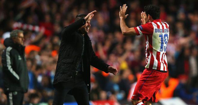 Diego Simeone: Celebrates with Diego Costa