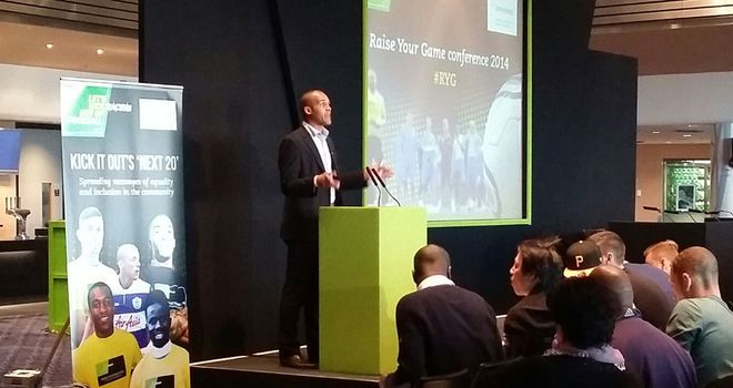 Clarke Carlisle addressing Raise Your Game conference at Wembley