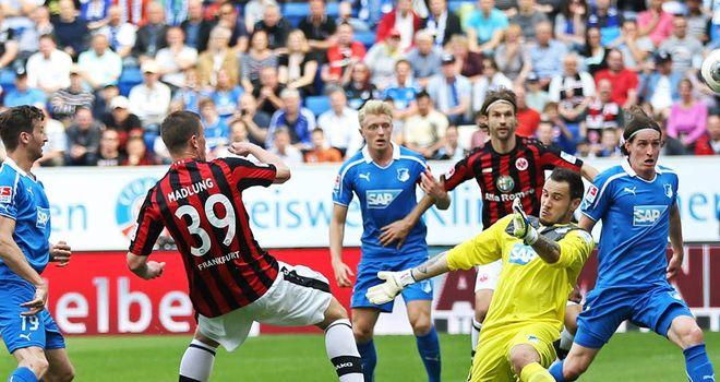 Frankfurt striker Alexander Madlung is denied by keeper Jens Grahl