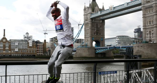 Mo Farah jumps for joy ahead of his marathon debut in London on Sunday