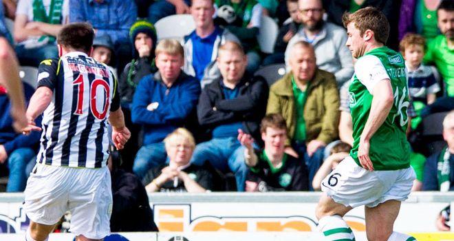 Paul McGowan scores St Mirren's second goal against Hibernian