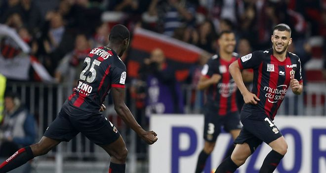 Nice's French midfielder Valentin Eysseric celebrates