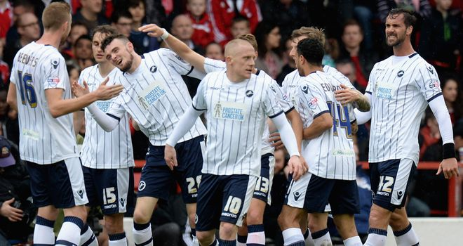 Scott Malone: Celebrates his goal for Millwall at Forest