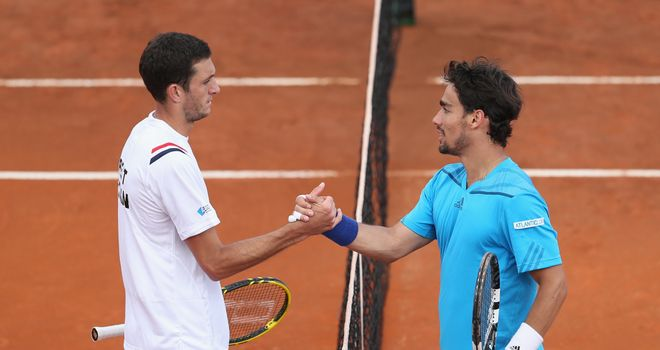 James Ward and Fabio Fognini shake hands at the net after the Italian's win
