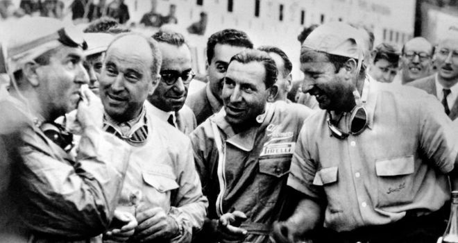 Juan Manuel Fangio chats to Giuseppe Farina after winning the 1950 Belgian Grand Prix