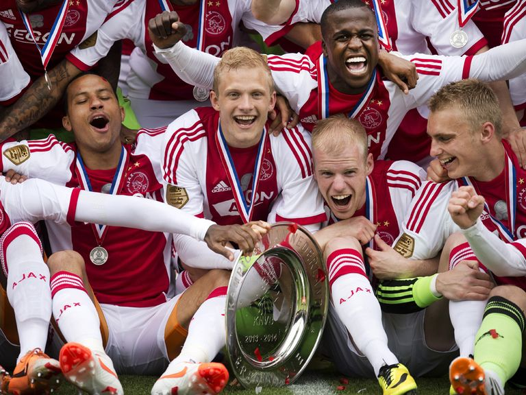 Ajax celebrate winning the Eredivisie title