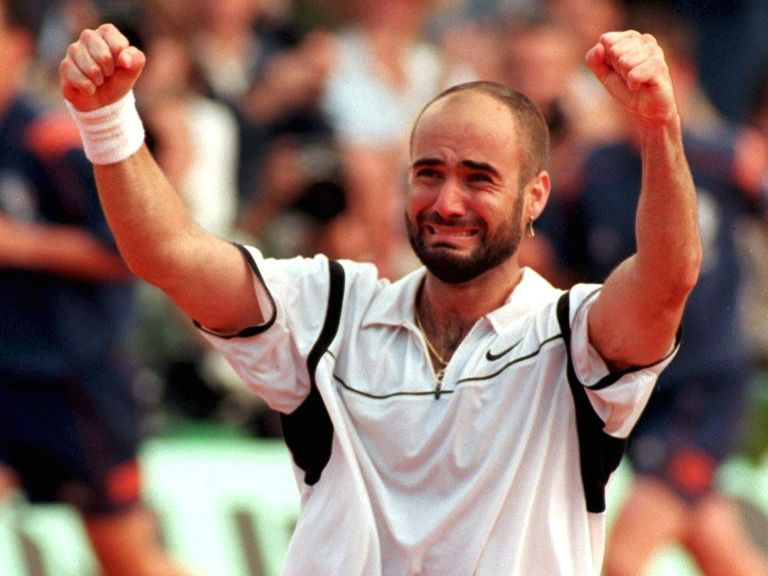 Andre Agassi's tearful celebration in 1999
