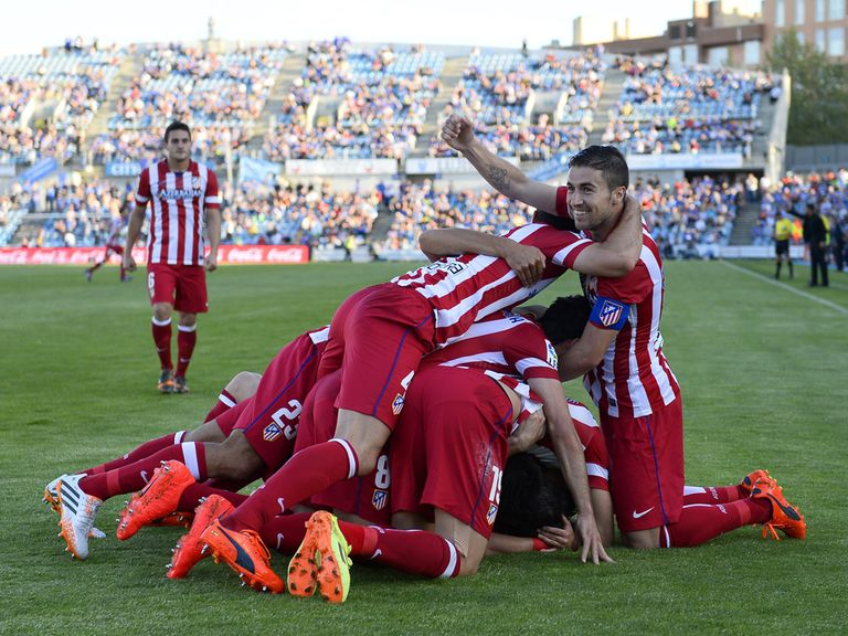 Atletico Madrid celebrate victory on Sunday