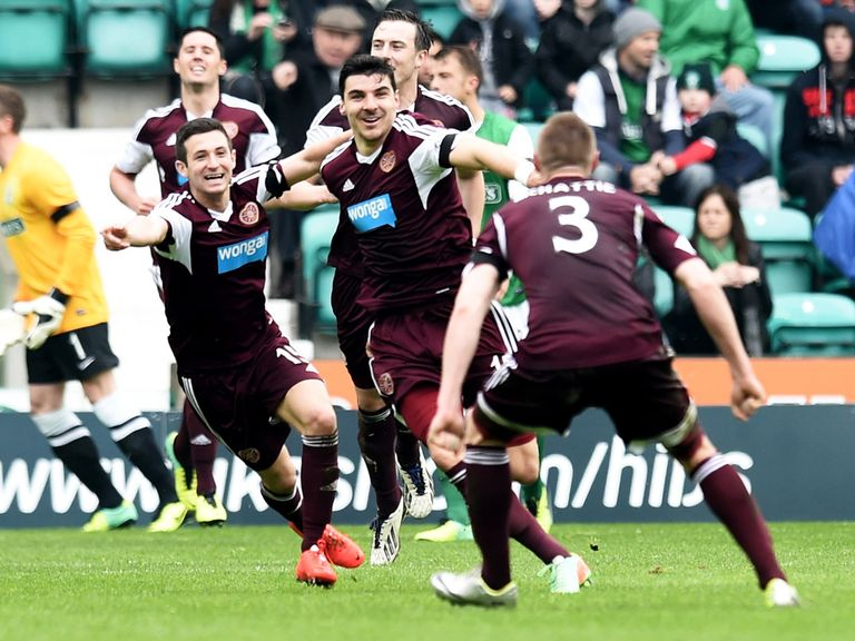 Paterson celebrates as Hearts win at Hibernian