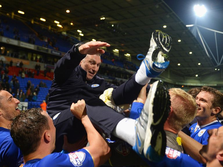 Leicester celebrate winning the title