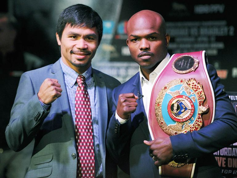 Pacquiao (l) and Bradley clash for a second time this weekend