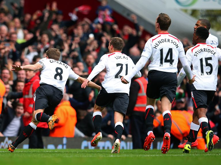 Steven Gerrard enjoys Liverpool's winner as they beat West Ham 2-1