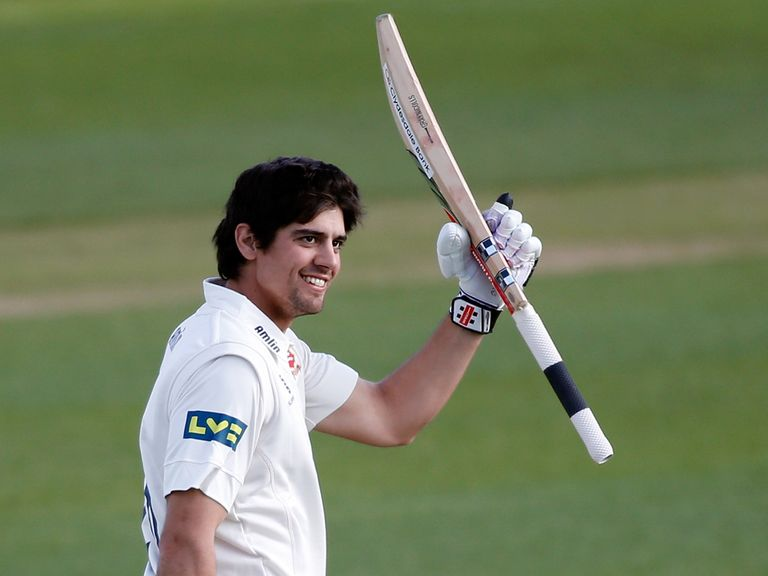 Alastair Cook celebrates reaching his century for Essex