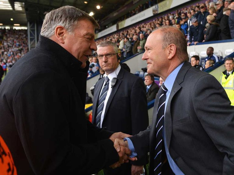 Sam Allardyce shakes hands with West Brom boss Pepe Mel