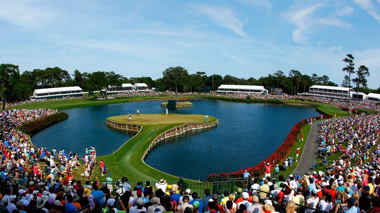 The iconic 17th hole at Sawgrass