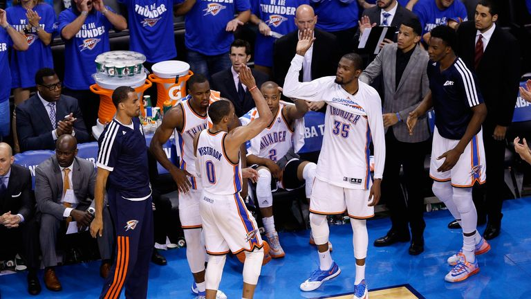 The Thunder celebrate levelling the series against the Spurs on Wednesday