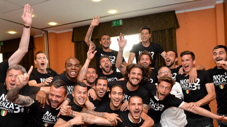 Juventus: Celebrate after their title win was confirmed