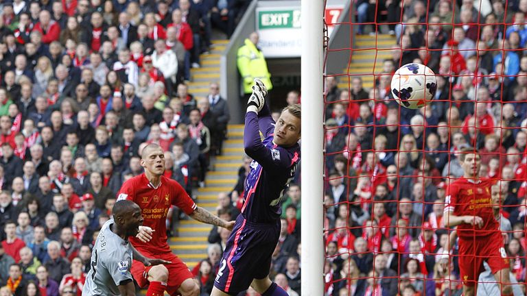 Martin Skrtel endures the proverbial howler as he shanks an own goal