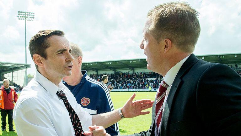 Danny Lennon: St Mirren manager greets Hearts boss Gary Locke