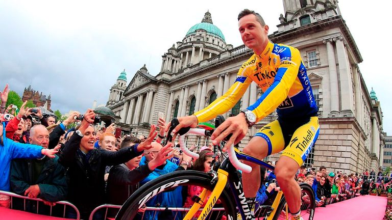 Ireland's Nicolas Roche received a warm welcome from fans in Belfast at Thursday's team presentation