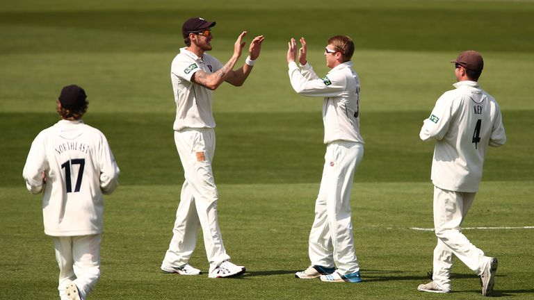 Adam Riley (no cap): Celebrates one of his four wickets for Kent at the Oval