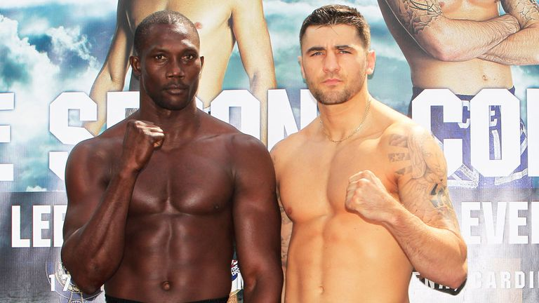 Nathan Cleverly (r) returns to the ring against Shawn Corbin (photo by Lawrence Lustig).
