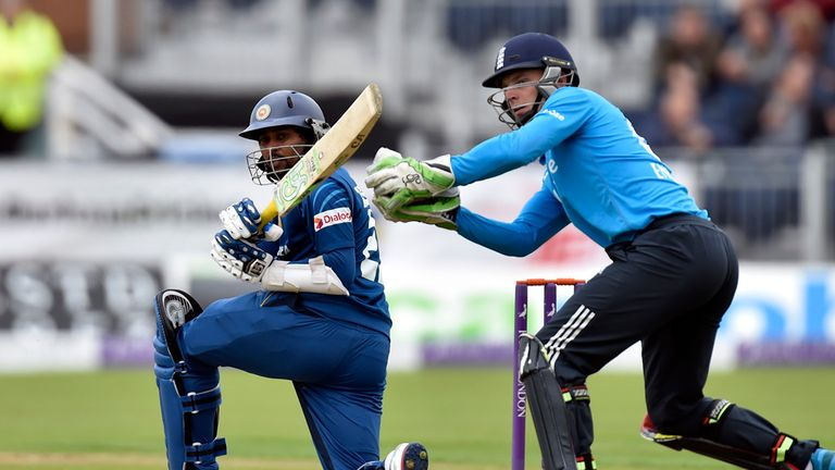 Sri Lanka's Tillakaratne Dilshan hits a four during the second ODI at the Emirates ICG, Durham.