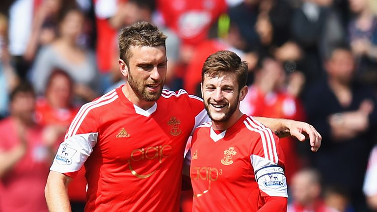 Former Saints: Rickie Lambert (L) and Adam Lallana (R) have been reunited at Anfield