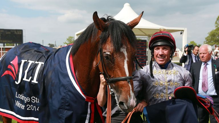 Frankie Dettori celebrates his victory on Olympic Glory