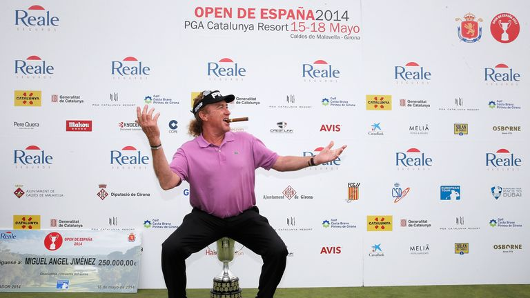Miguel Angel Jimenez celebrates his victory in Spain