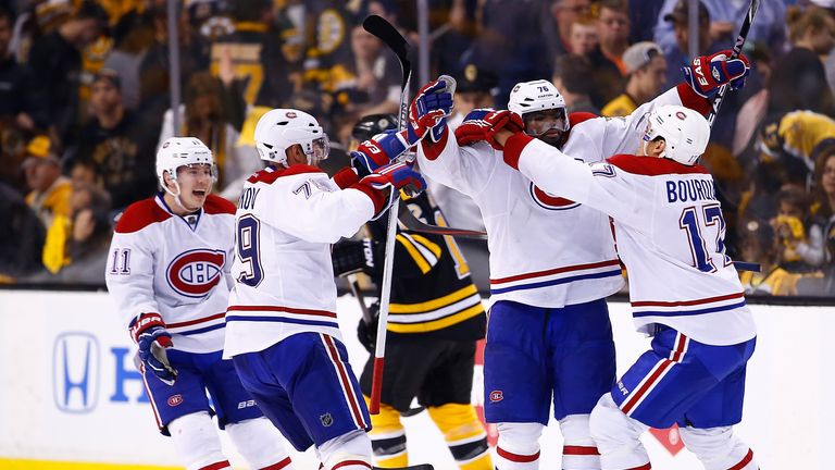 PK Subban celebrates his game-winning power play goal with team-mates