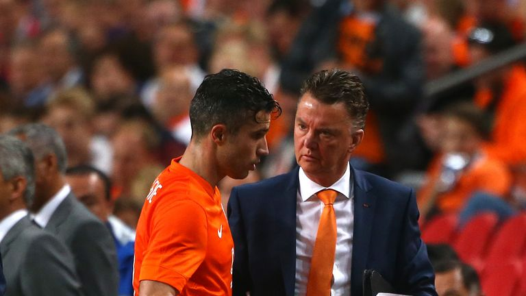 Robin van Persie: Congratulated by manager Louis van Gaal in Holland's 1-1 draw with Ecuador