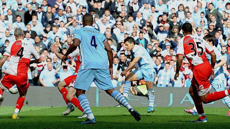 Sergio Aguero's 30th goal for City sealed their first ever Premier League triumph