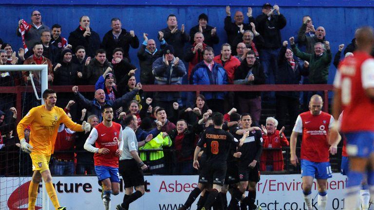Matty Blair: Celebrates after scoring at York