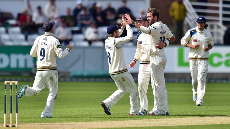 Liam Plunkett: Celebrates the wicket of Durham opener Mark Stoneman