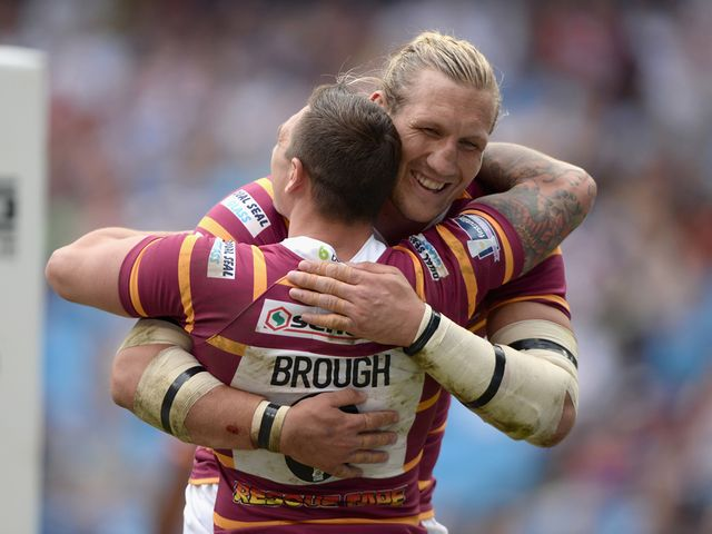 Danny Brough of Huddersfield Giants celebrates with Eorl Crabtree