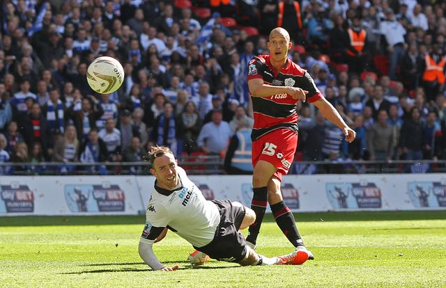 Bobby Zamora curls into the corner of the net in the final minute at Wembley